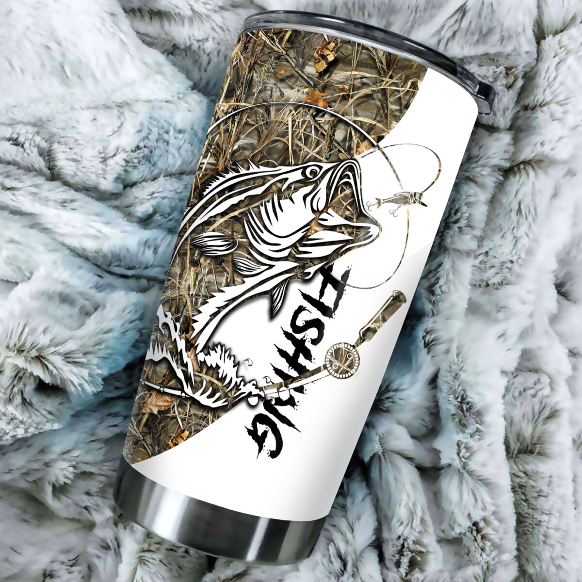 camo fishing tattoo all over print stainless steel tumbler 3