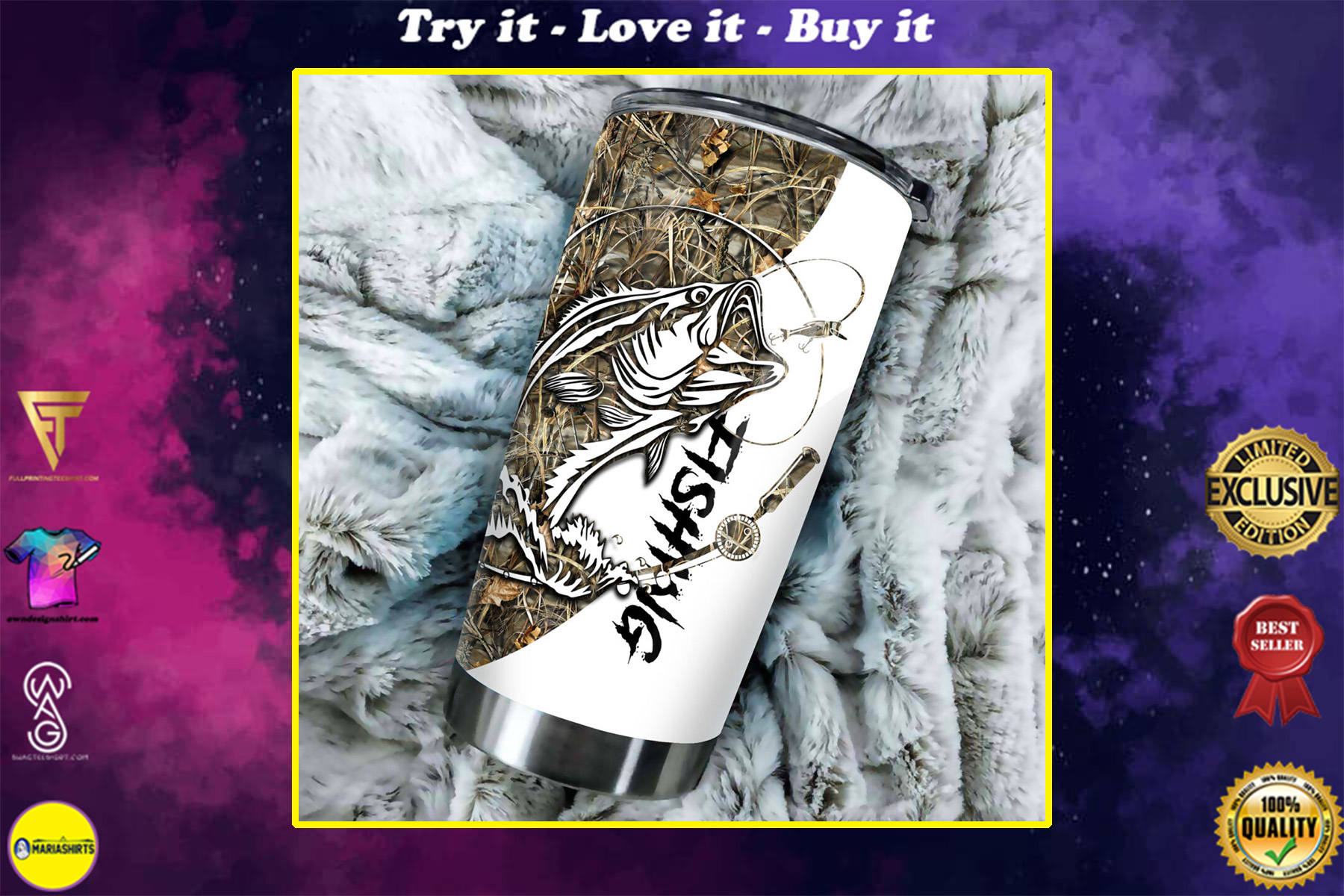camo fishing tattoo all over print stainless steel tumbler