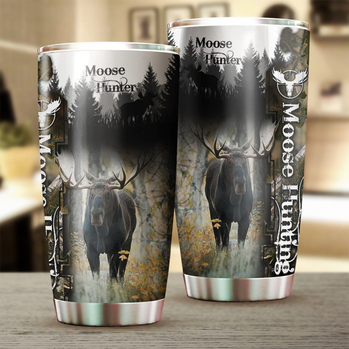 camo moose hunting all over print stainless steel tumbler 2
