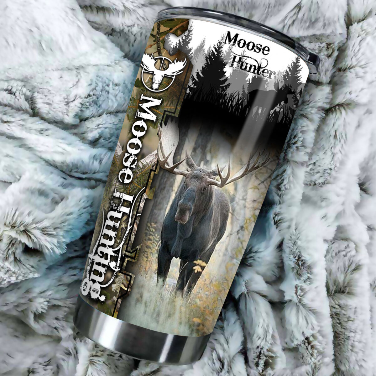 camo moose hunting all over print stainless steel tumbler 3