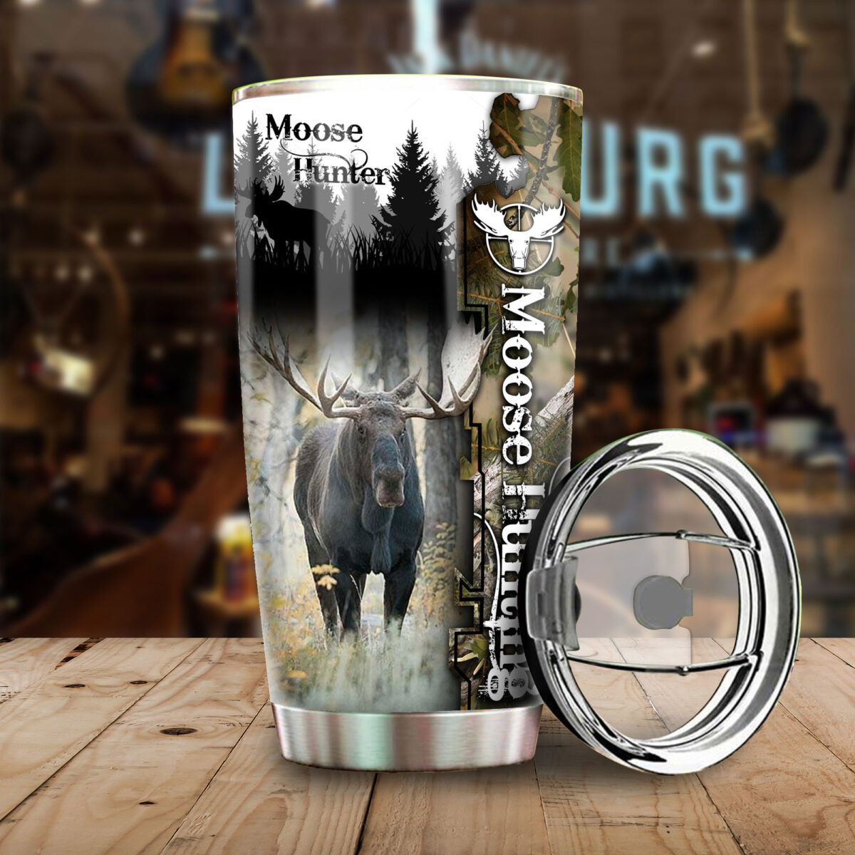 camo moose hunting all over print stainless steel tumbler 4