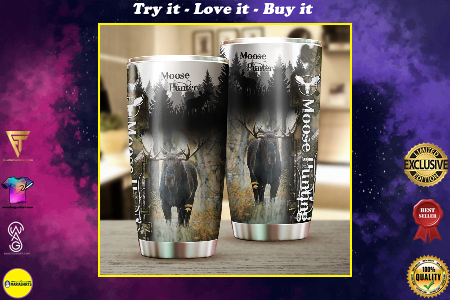 camo moose hunting all over print stainless steel tumbler