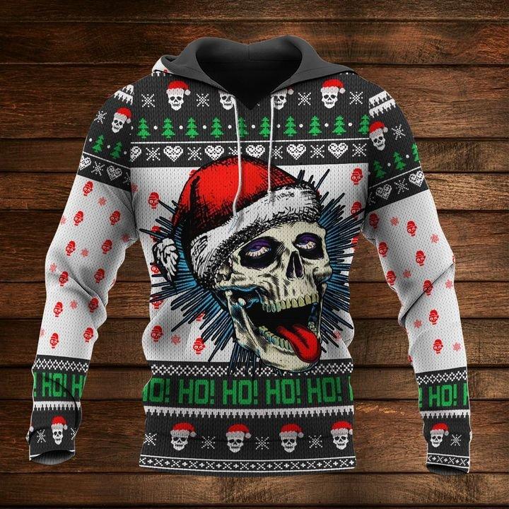 christmas time santa skull ho ho ho full printing shirt 1