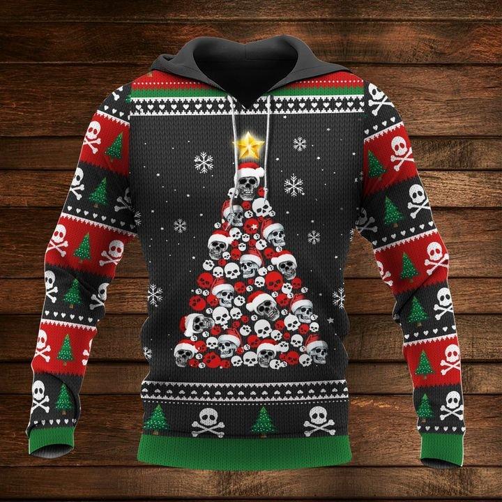 christmas time skull christmas tree full printing shirt 1