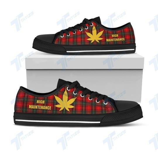 christmas weed tartan pattern full printing low top shoes 1