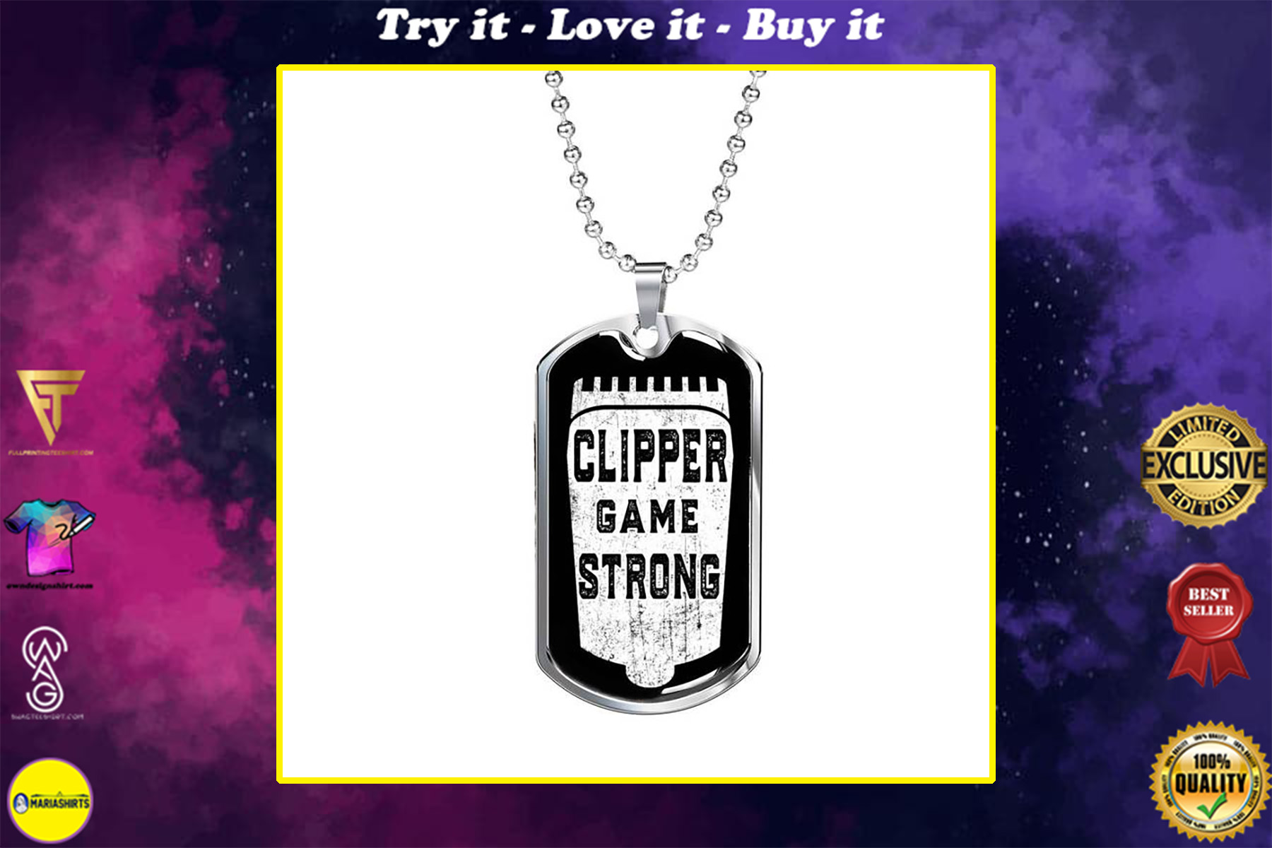 clipper game strong barber dog tag