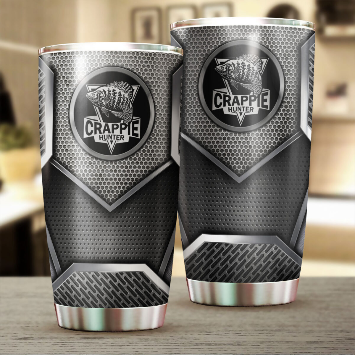 crappie fishing metal all over print stainless steel tumbler 2