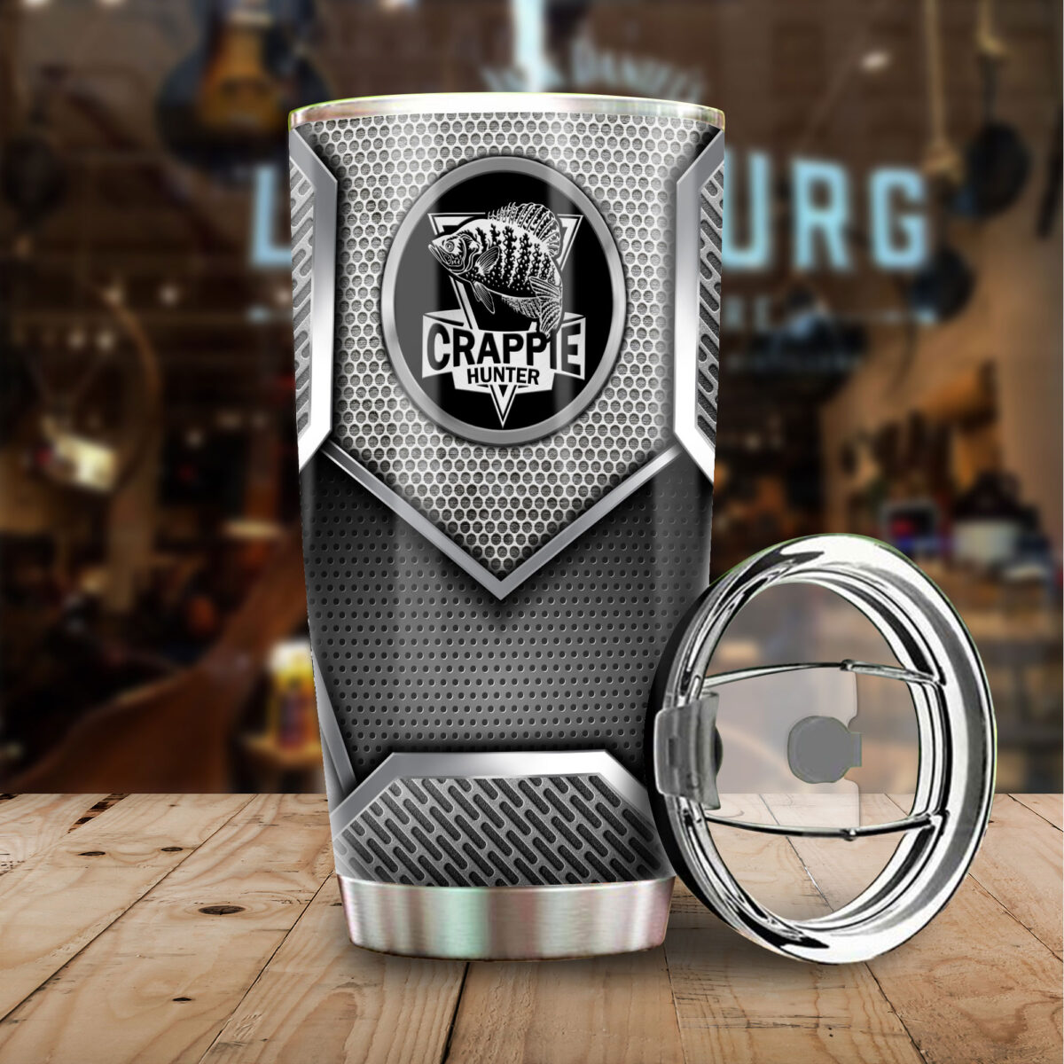 crappie fishing metal all over print stainless steel tumbler 4