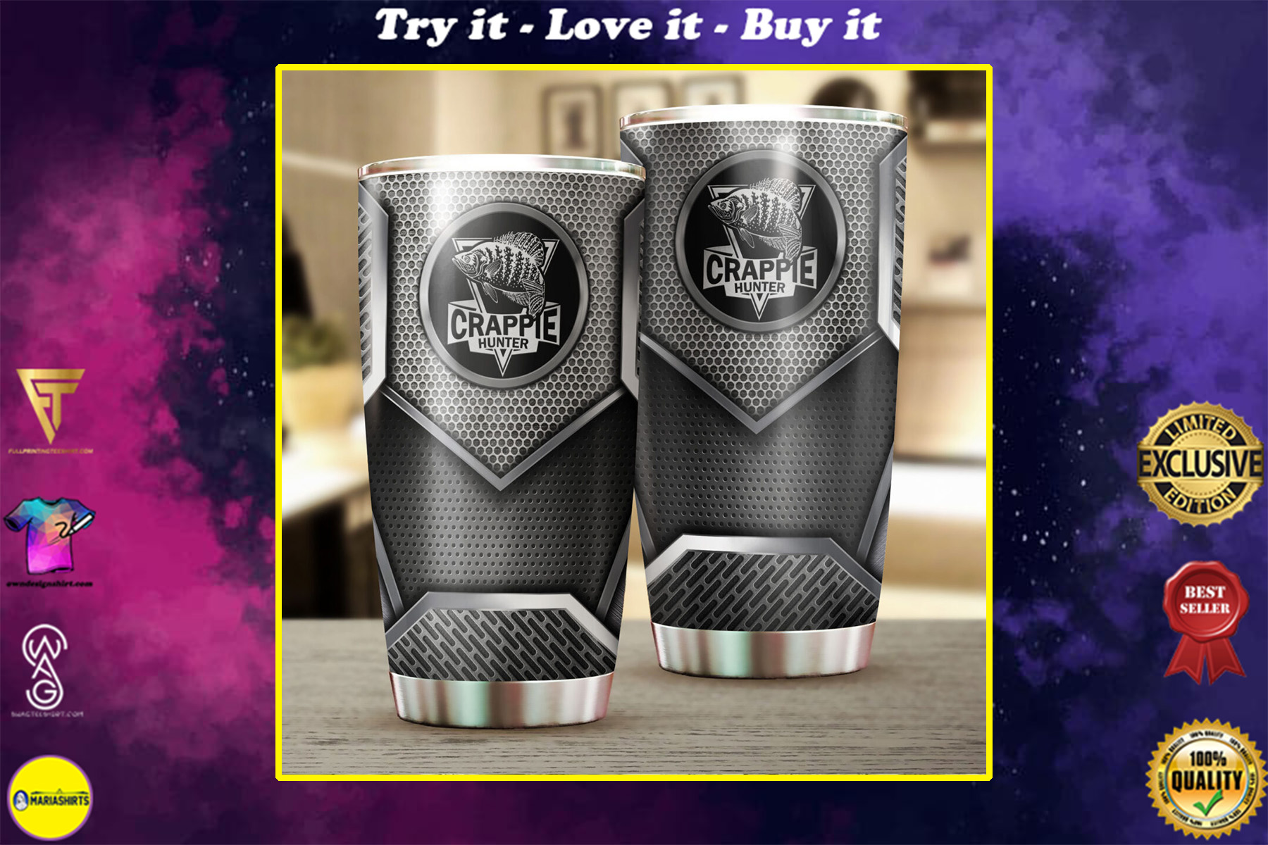 crappie fishing metal all over print stainless steel tumbler
