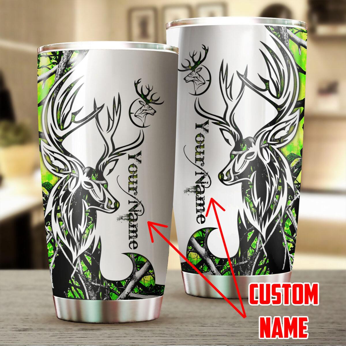 custom name deer hunting neon all over print stainless steel tumbler 5