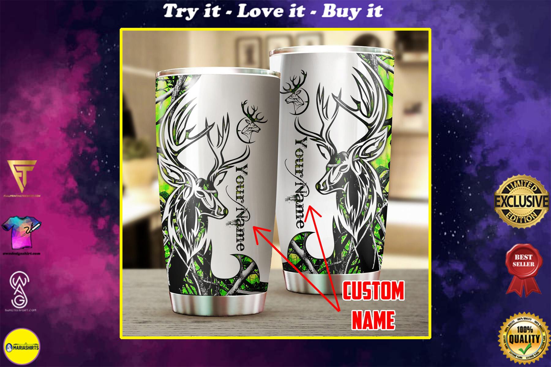custom name deer hunting neon all over print stainless steel tumbler