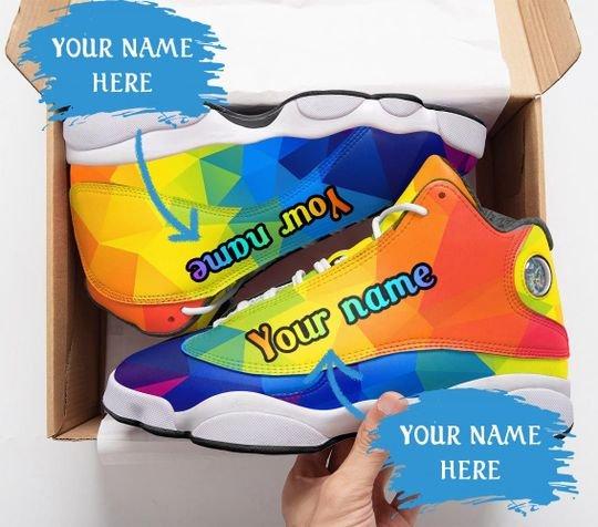 custom name lgbt color pattern all over printed air jordan 13 sneakers 1