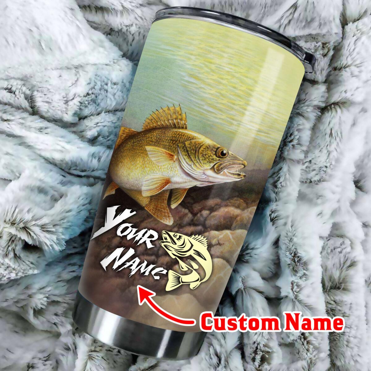 custom name love fishing all over print stainless steel tumbler 2