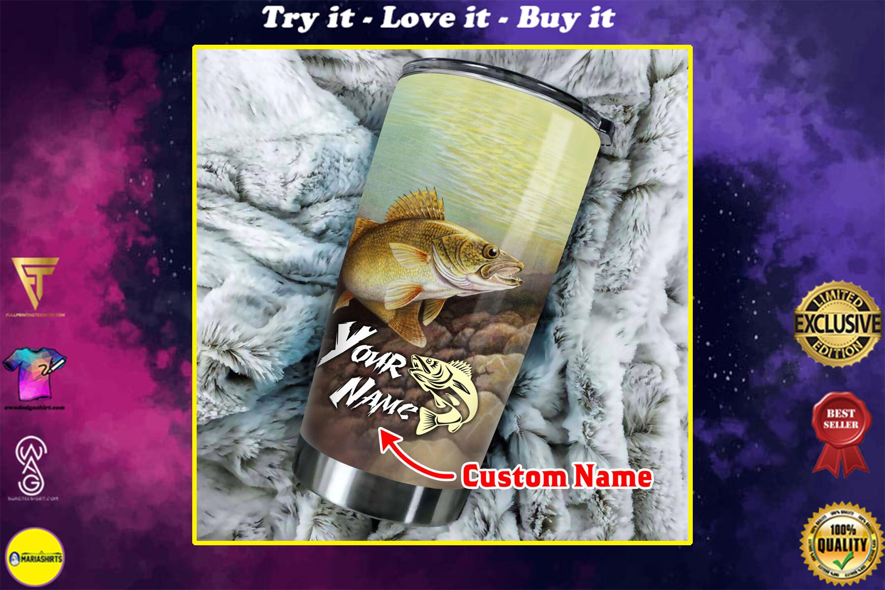 custom name love fishing all over print stainless steel tumbler