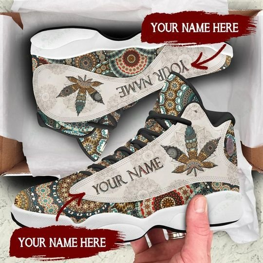 custom name mandala weed leaf all over printed air jordan 13 sneakers 1