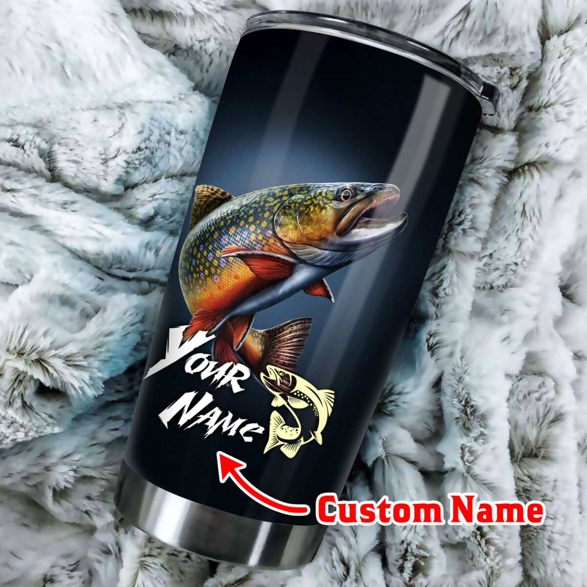 custom name trout fishing all over print stainless steel tumbler 3