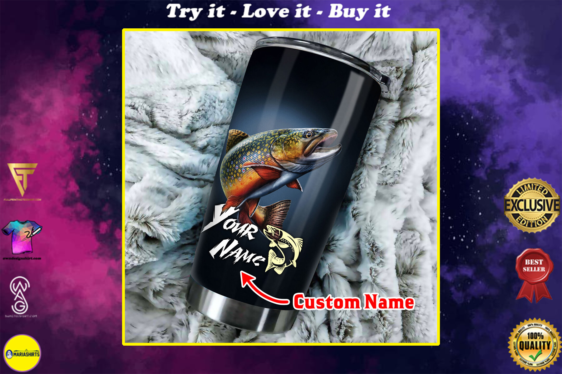 custom name trout fishing all over print stainless steel tumbler