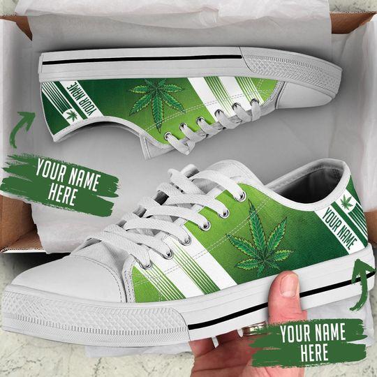 custom name weed leaf green full printing low top shoes 1