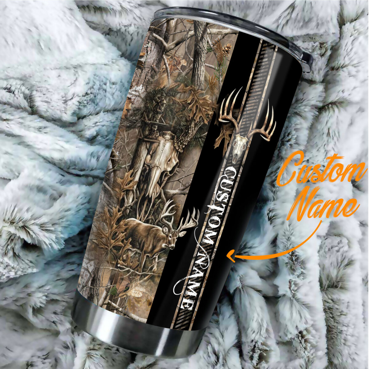 custom your name deer hunting camo all over print stainless steel tumbler 3