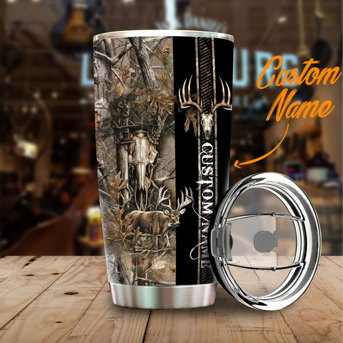 custom your name deer hunting camo all over print stainless steel tumbler 4