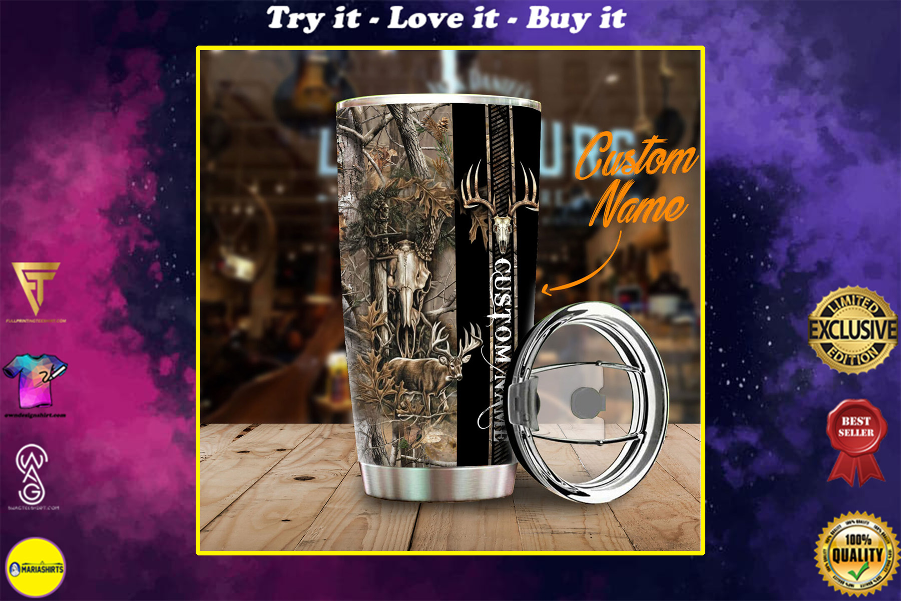 custom your name deer hunting camo all over print stainless steel tumbler