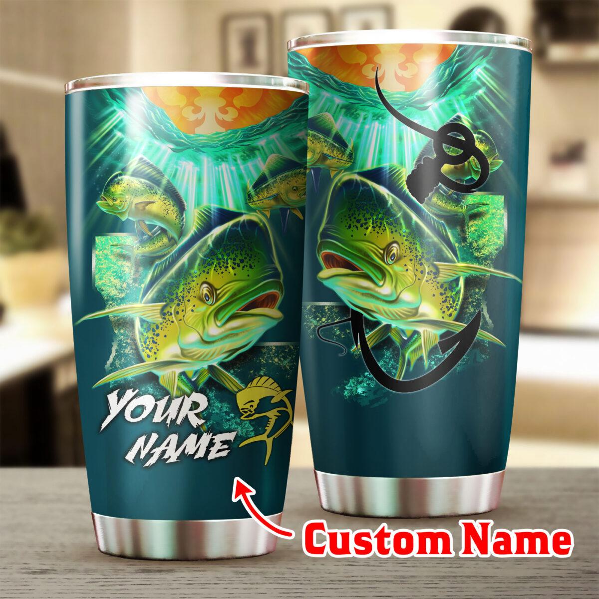 custom your name mahi mahi fishing all over print stainless steel tumbler 2