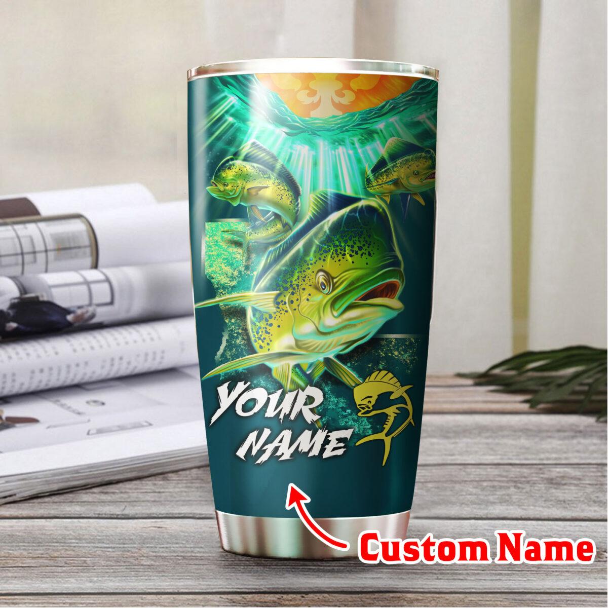 custom your name mahi mahi fishing all over print stainless steel tumbler 4