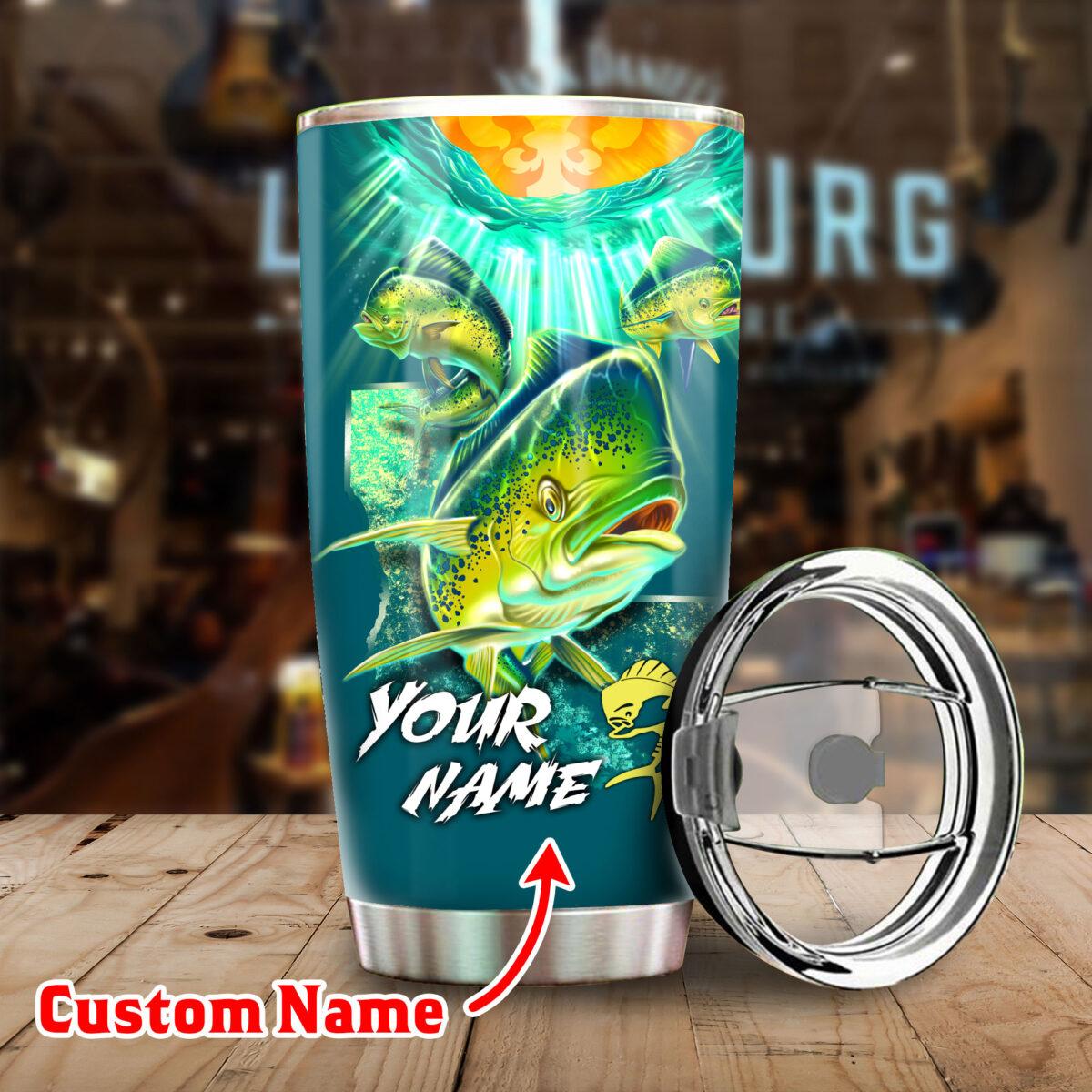 custom your name mahi mahi fishing all over print stainless steel tumbler 5