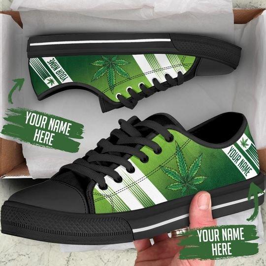 custom your name marijuana leaf full printing low top shoes 1