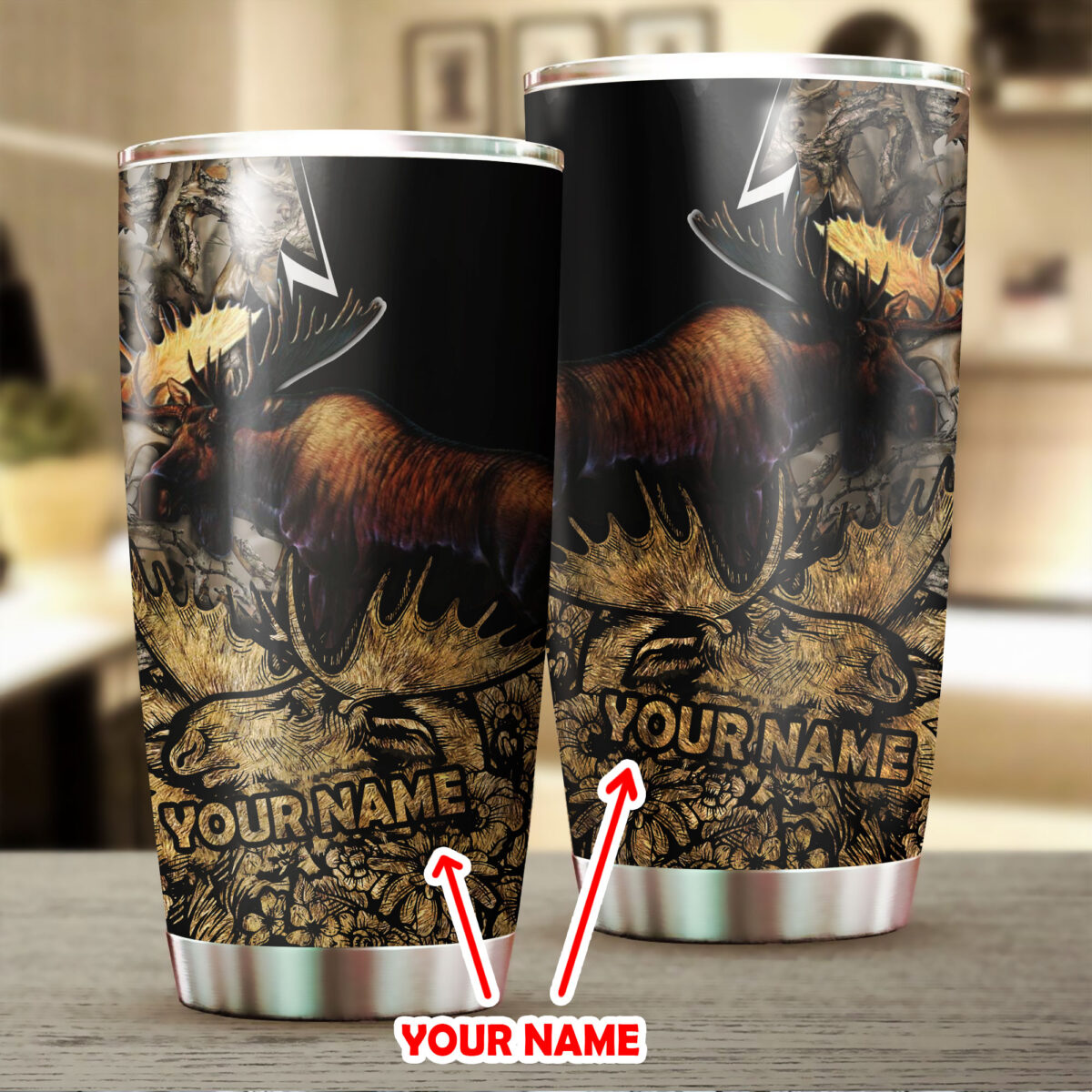 custom your name moose hunting all over print stainless steel tumbler 2