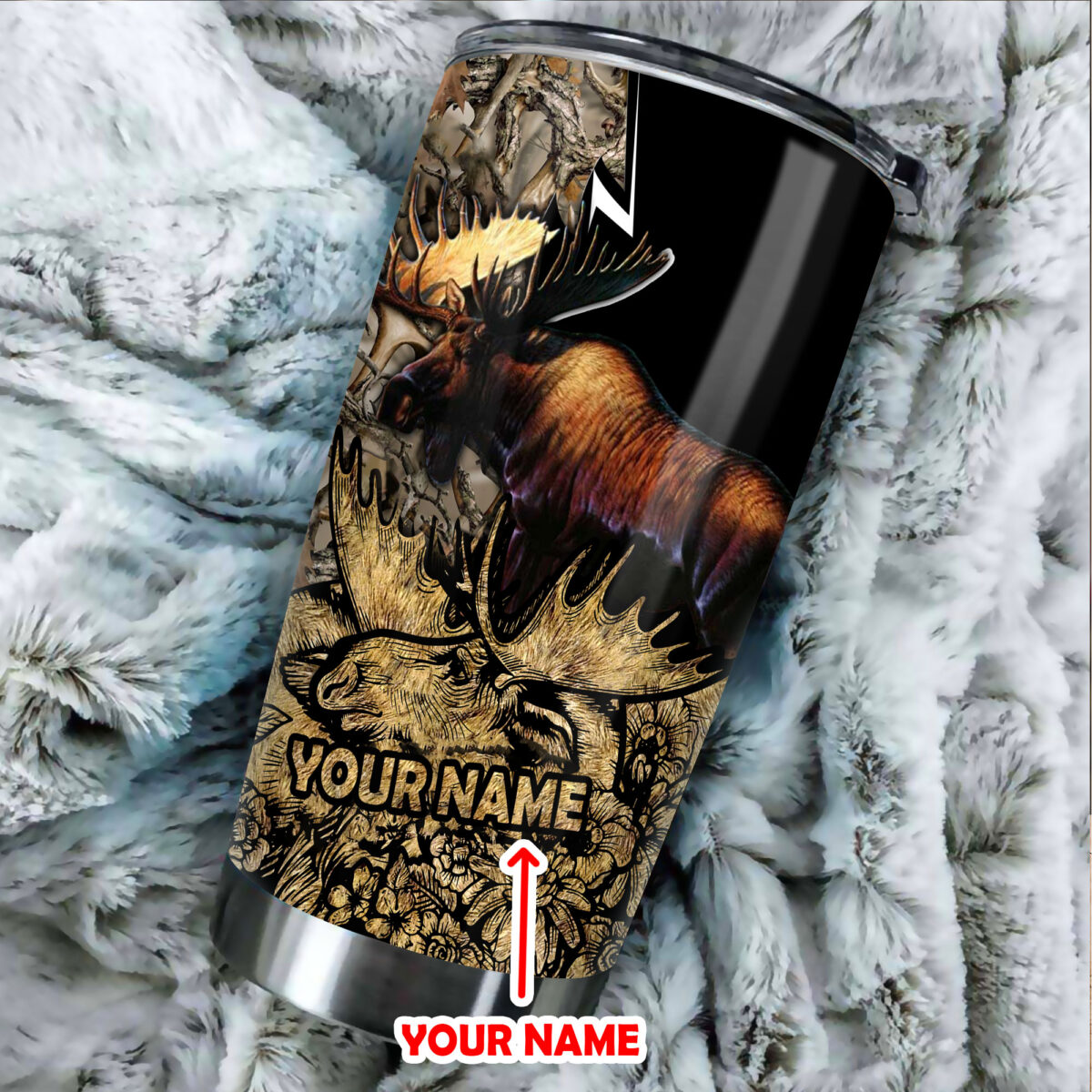 custom your name moose hunting all over print stainless steel tumbler 3