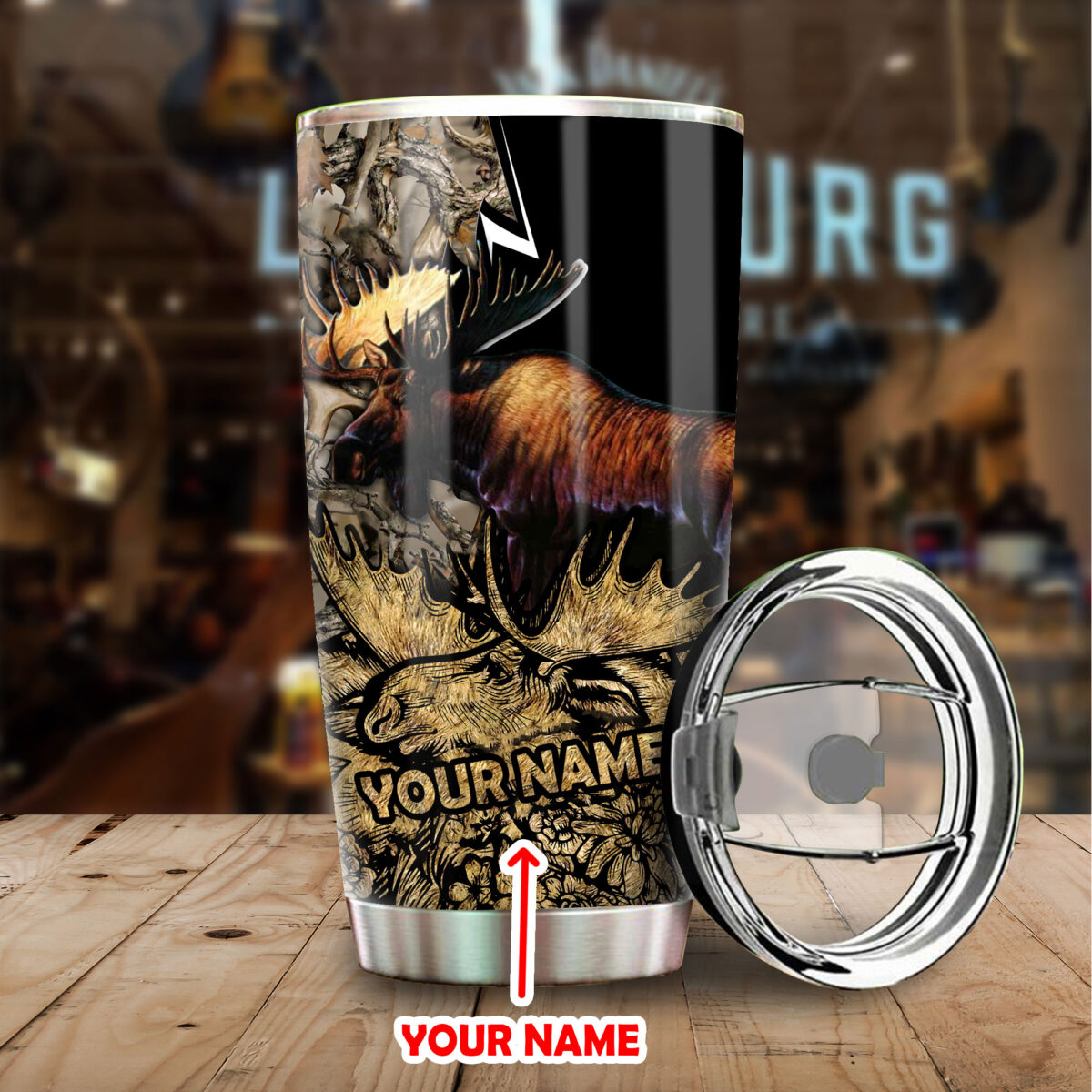 custom your name moose hunting all over print stainless steel tumbler 4