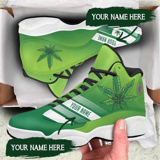 custom your name weed leaf all over printed air jordan 13 sneakers 1