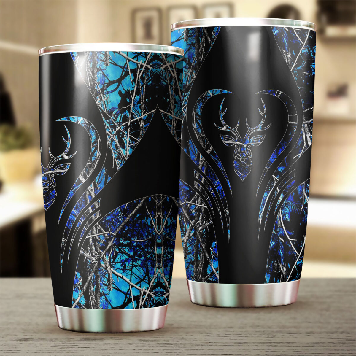 deer hunting camo blue heart all over print stainless steel tumbler 2