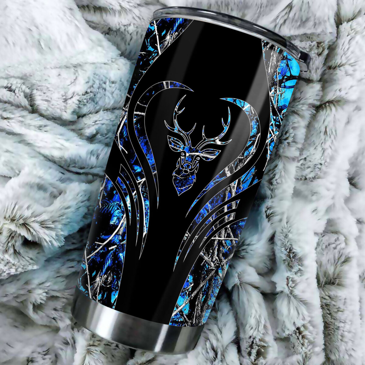 deer hunting camo blue heart all over print stainless steel tumbler 4