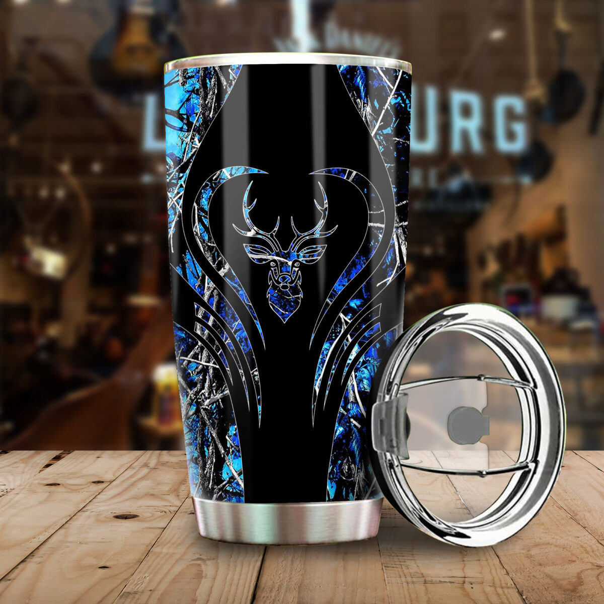 deer hunting camo blue heart all over print stainless steel tumbler 5