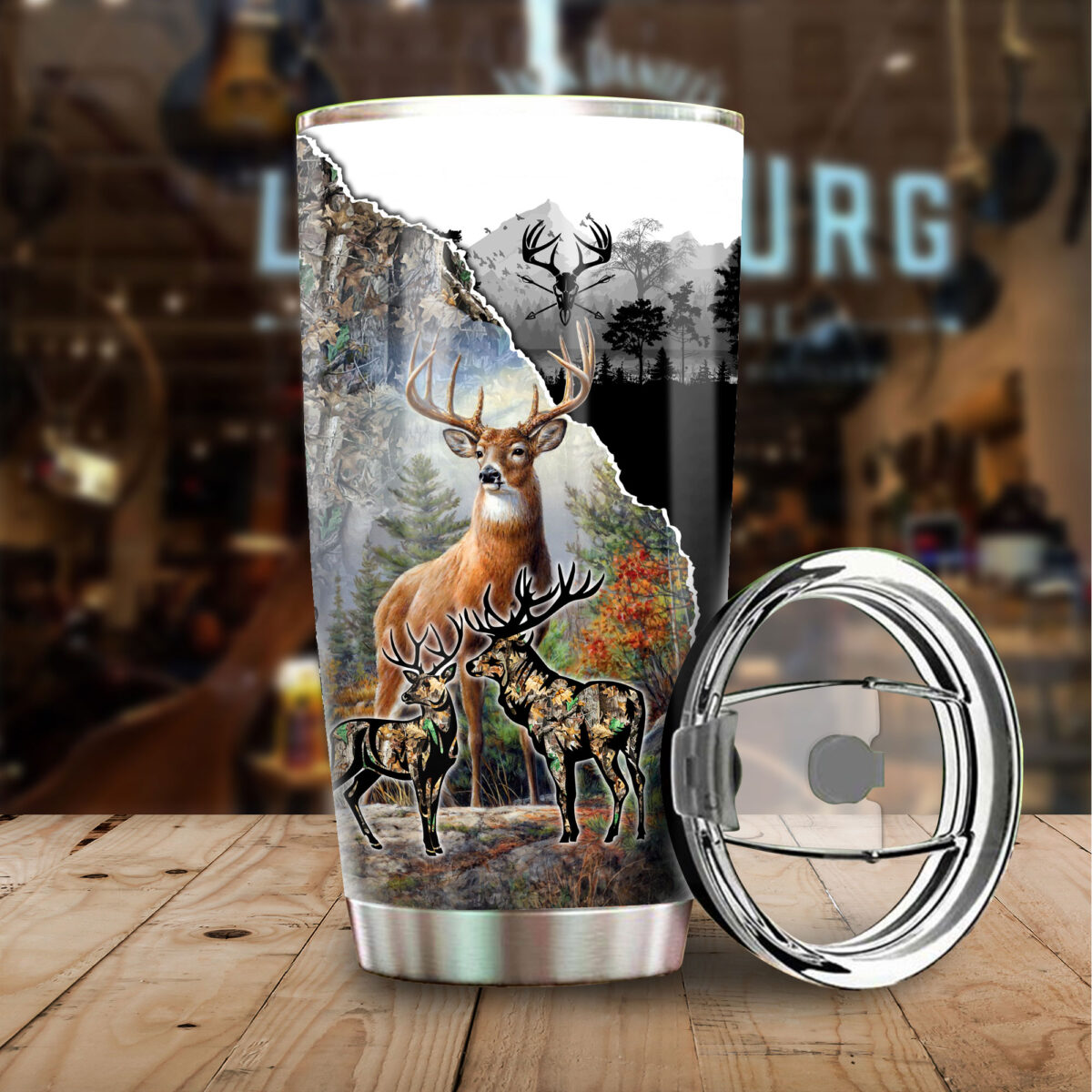 deer hunting season all over print stainless steel tumbler 3