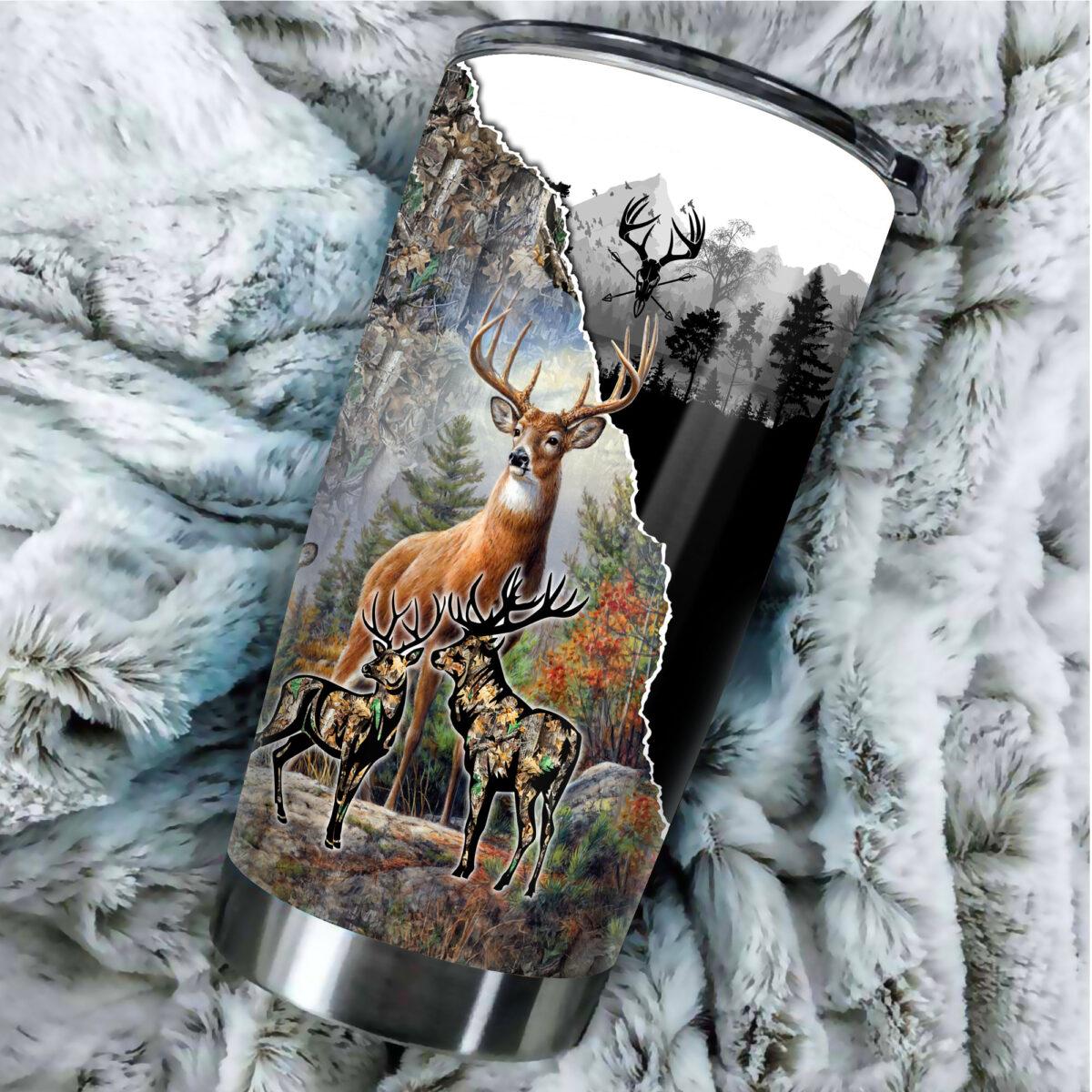 deer hunting season all over print stainless steel tumbler 5