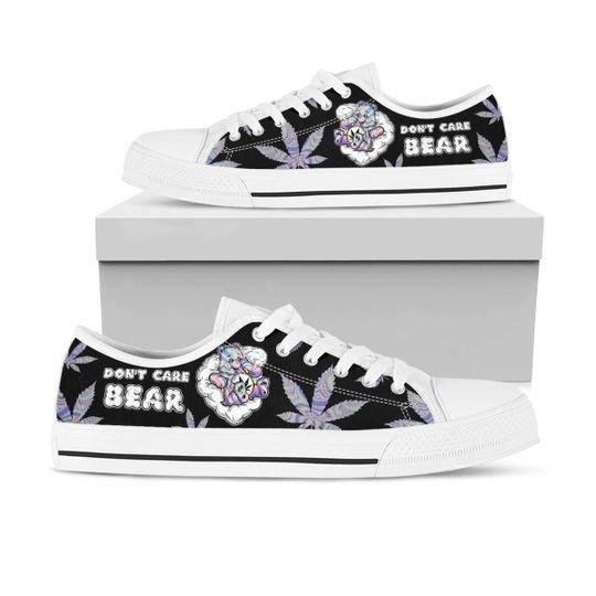 dont care bear marijuana leaf full printing low top shoes 1