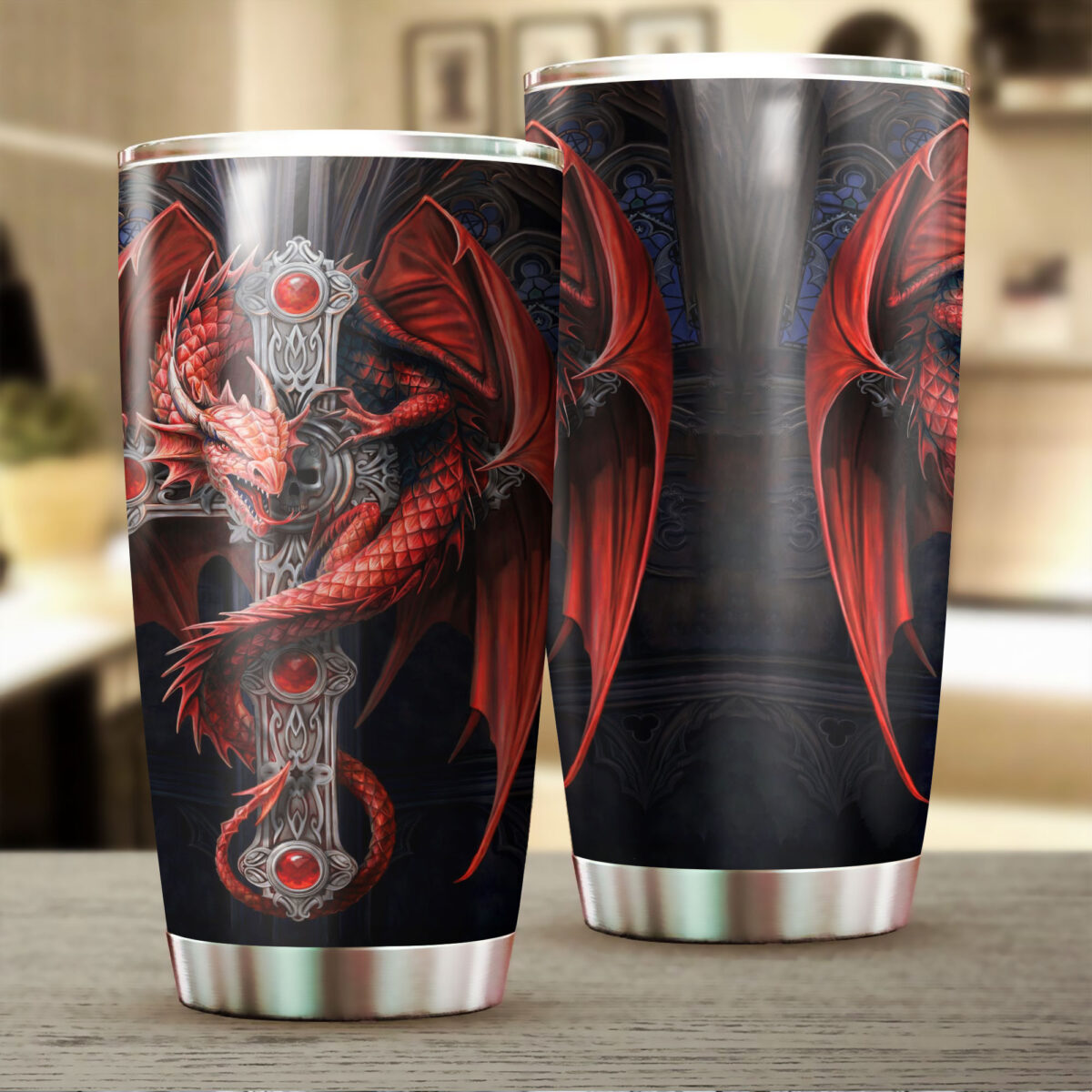 dragon and sword all over print stainless steel tumbler 2