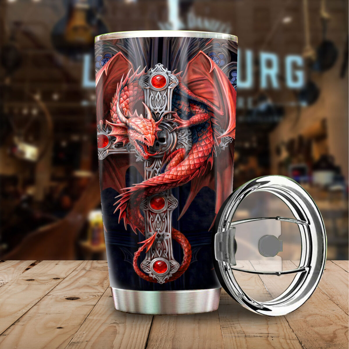 dragon and sword all over print stainless steel tumbler 3