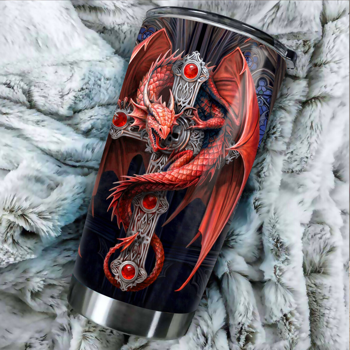 dragon and sword all over print stainless steel tumbler 5
