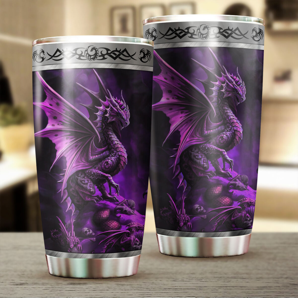 dragon purple all over print stainless steel tumbler 2