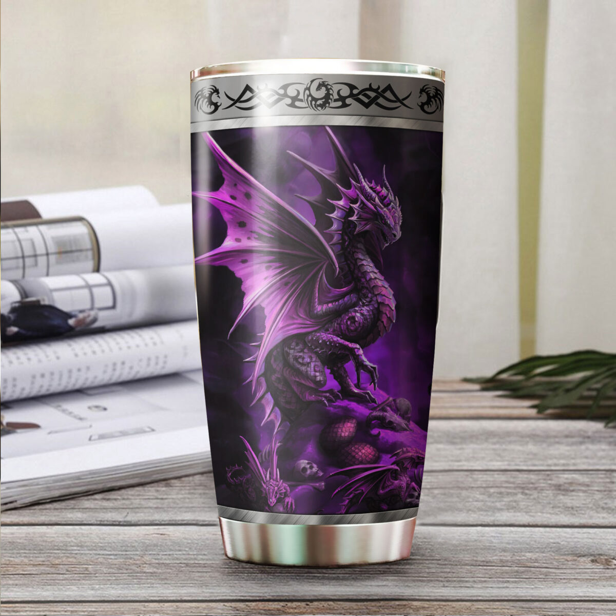 dragon purple all over print stainless steel tumbler 3