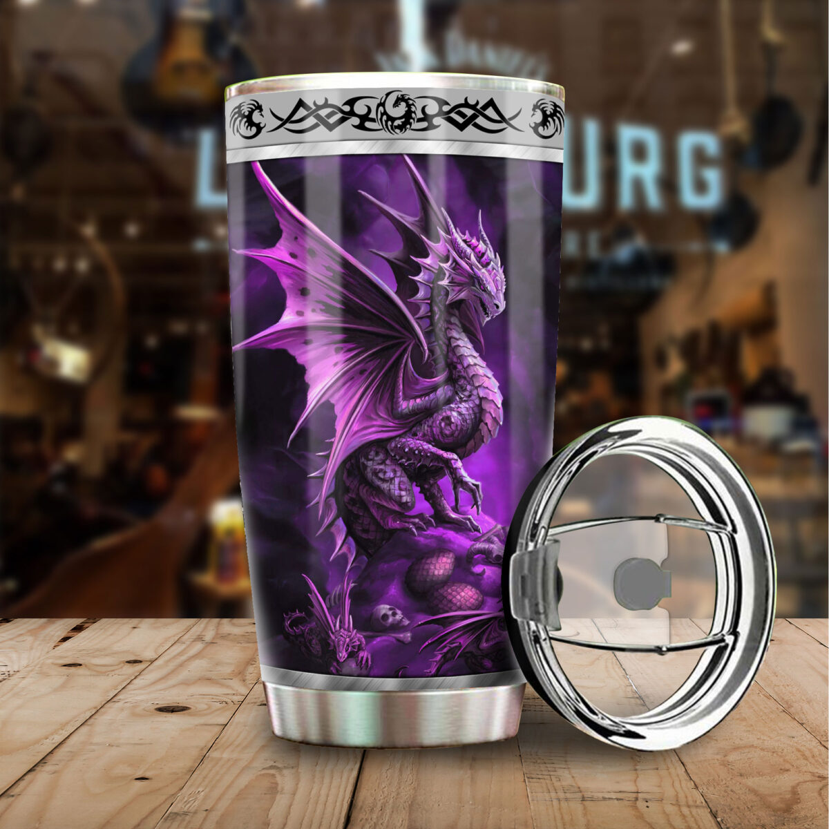 dragon purple all over print stainless steel tumbler 4