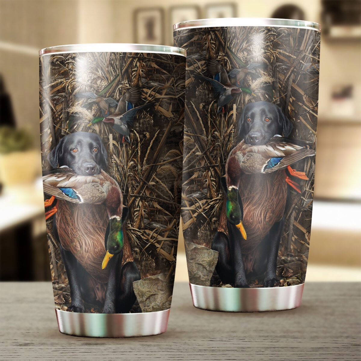 duck hunting dog camo all over print stainless steel tumbler 3