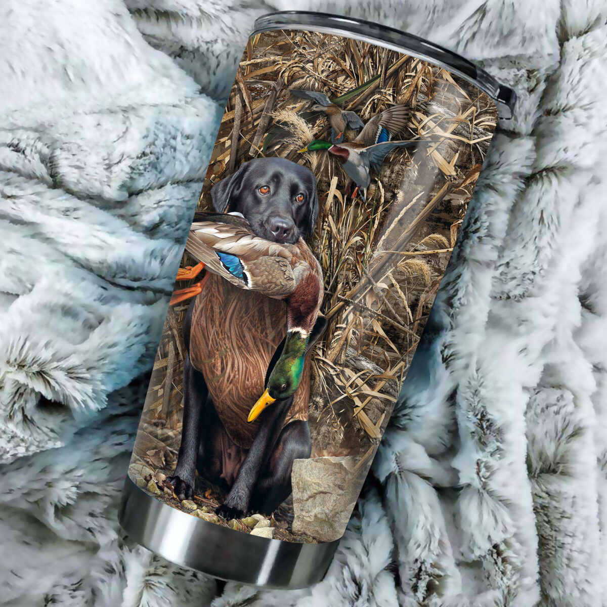 duck hunting dog camo all over print stainless steel tumbler 4