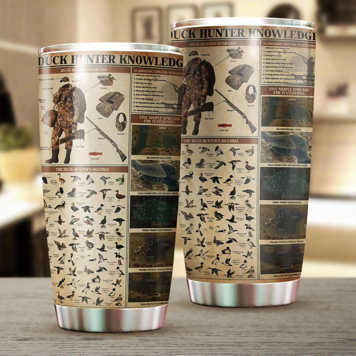 duck hunting knowledge all over print stainless steel tumbler 2