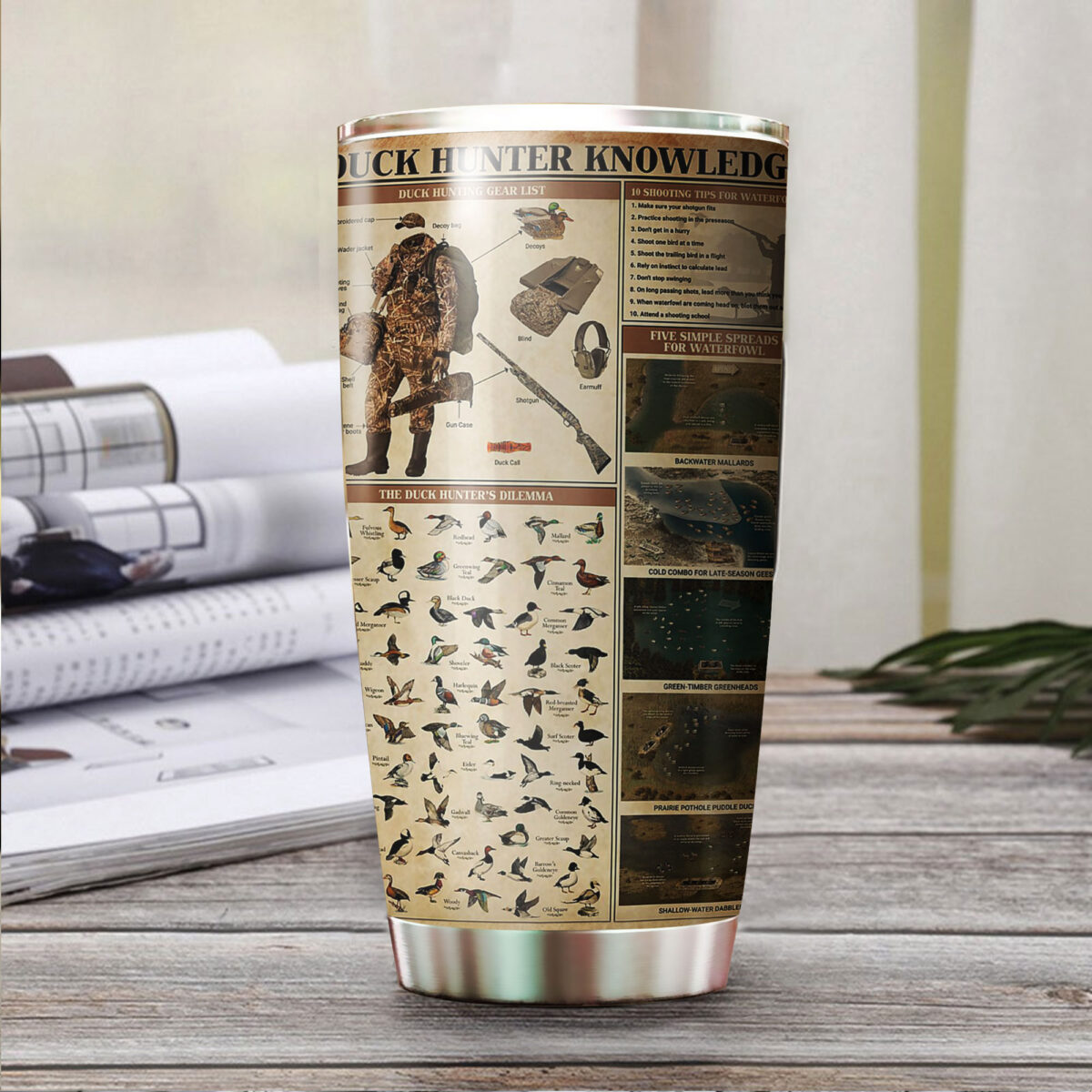 duck hunting knowledge all over print stainless steel tumbler 3