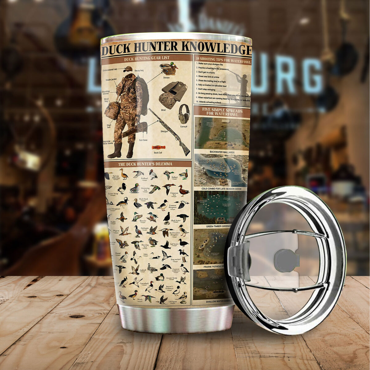 duck hunting knowledge all over print stainless steel tumbler 4